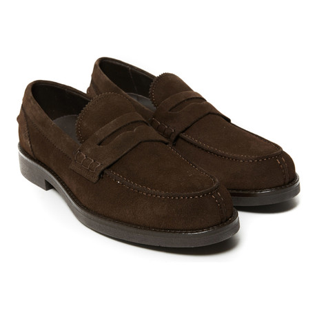 Suede Penny Loafer // Dark Brown (Euro: 40)