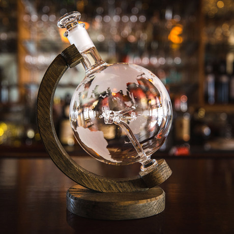 Etched Globe Liquor Decanter // Glass Fighter Plane