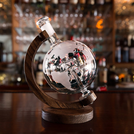 Etched Globe Liquor Decanter // Glass Biplane