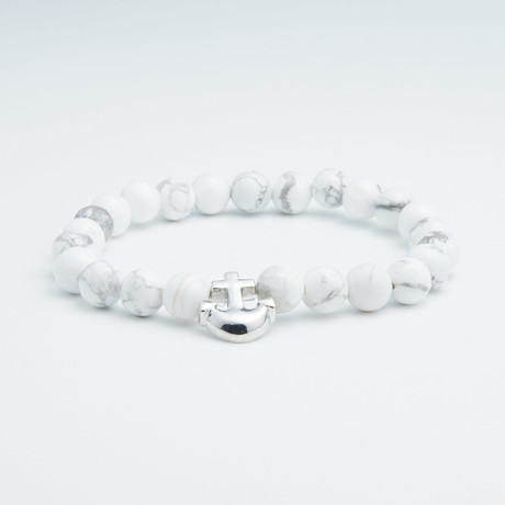Howlite + Silver Anchor Beaded Bracelet // White