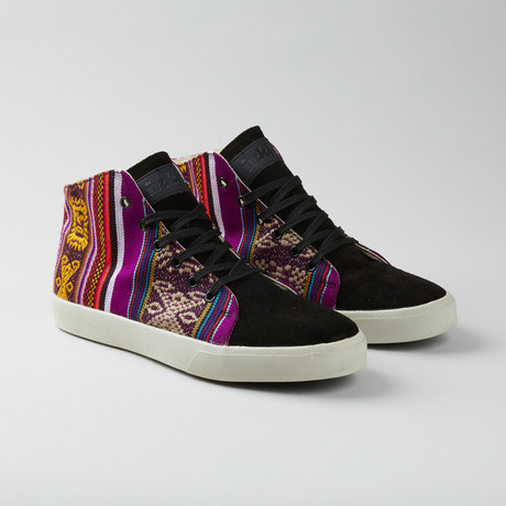 Montezuma Mid Top // Black + Violet + Multi