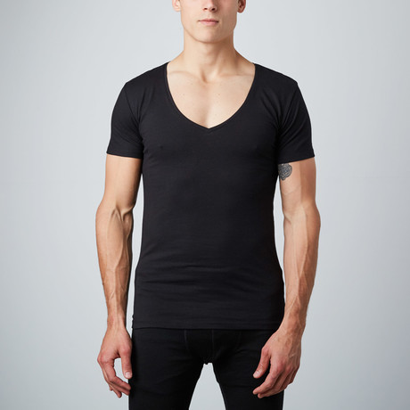 Deep V-Neck Shirt // Black // Pack of 2 (S)
