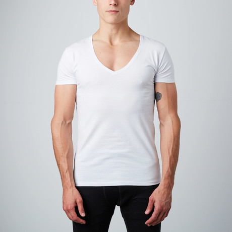 Deep V-Neck Shirt // White // Pack of 2 (S)