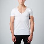 Deep V-Neck Shirt // White // Pack of 2 (S)
