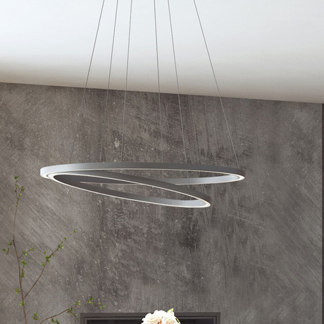 Tania Duo // Double Orbicular Chandelier // Silver