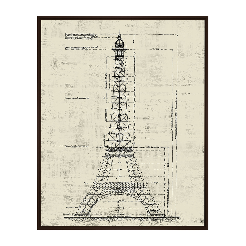 La Tour Eiffel Architectural Drawing Sepia 31 75 W X 41 75 H X 1 5 D Architectural Blueprints Touch Of Modern
