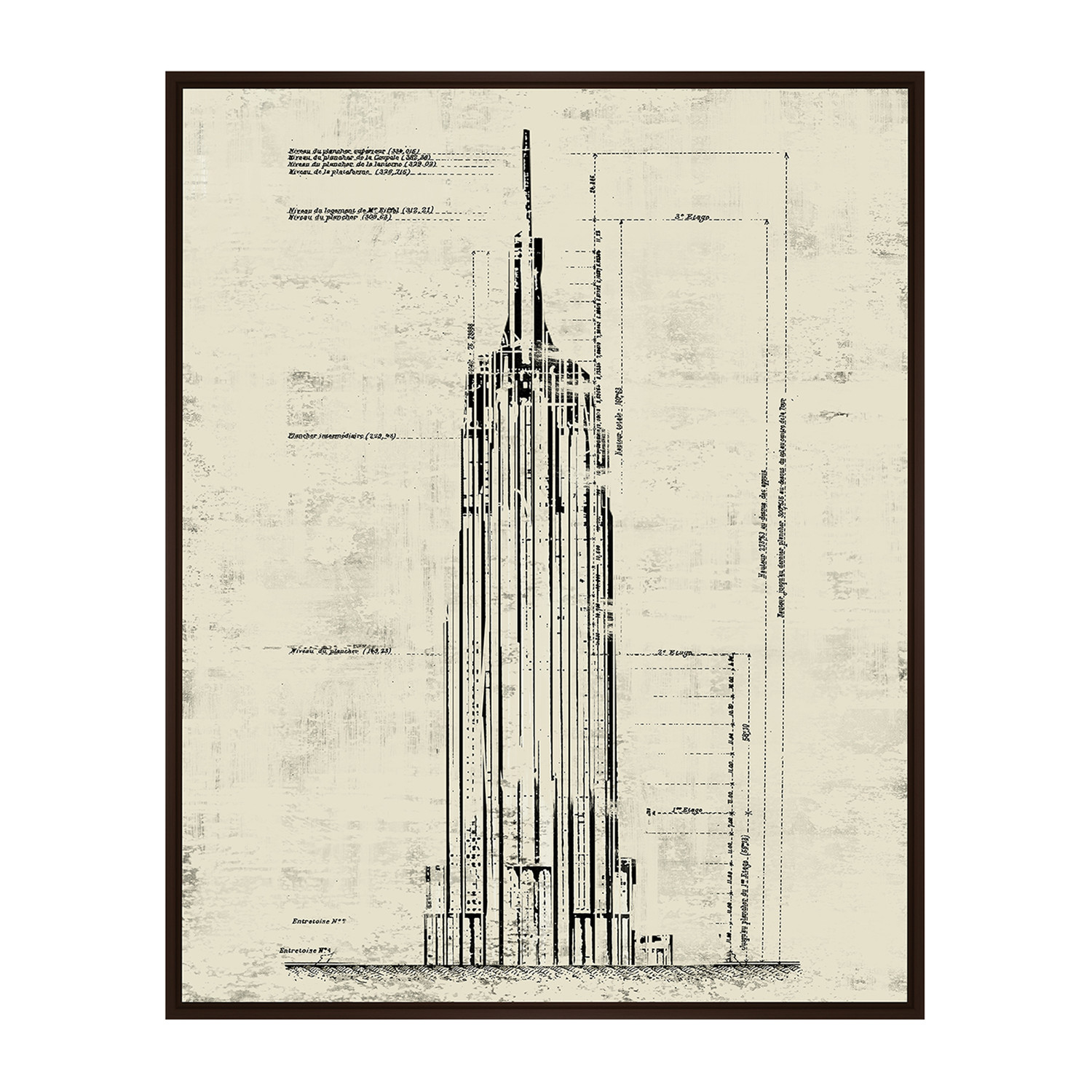 empire state building architectural drawing sepia 17 75 w x