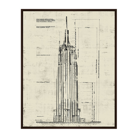 Empire State Building // Architectural Drawing // Sepia ...