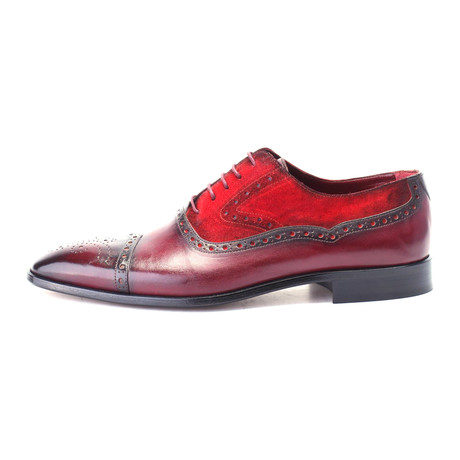 Aagneya Mixed Texture Perforated Toe Oxford // Bordeaux Red