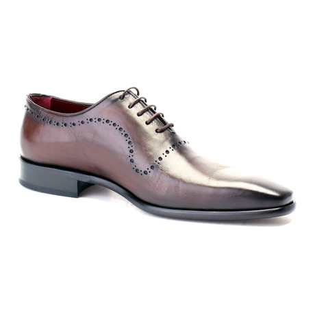 Aaiden Perforated Plain Toe Oxford // Antique Brown