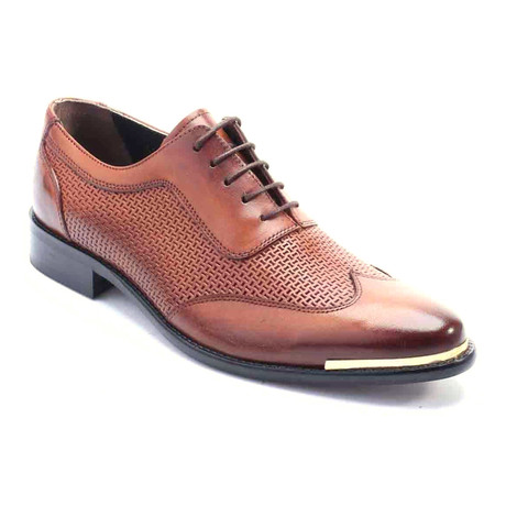 Aamod Perforated Wingtip Oxford // Antique Brown