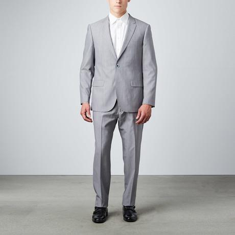 Bella Vita // Slim-Fit Suit // Light Grey Pinstripes