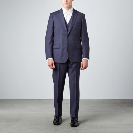 Via Roma // Half-Canvas 3-Piece Suit // Navy Herringbone