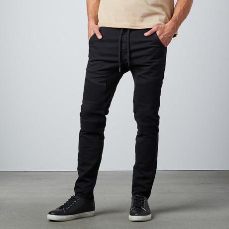 Drawstring Moto Pant // Black (S)