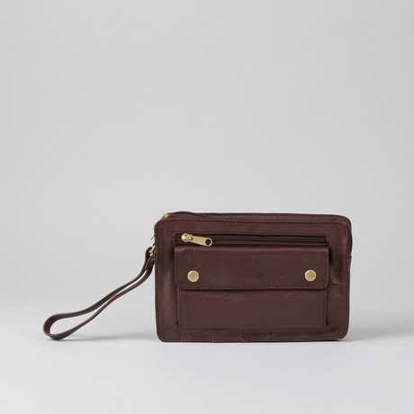 Leather Bag with Strap // Burgundy