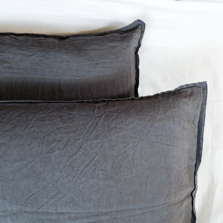 pillow sham set charcoal gray standard size primary. Black Bedroom Furniture Sets. Home Design Ideas
