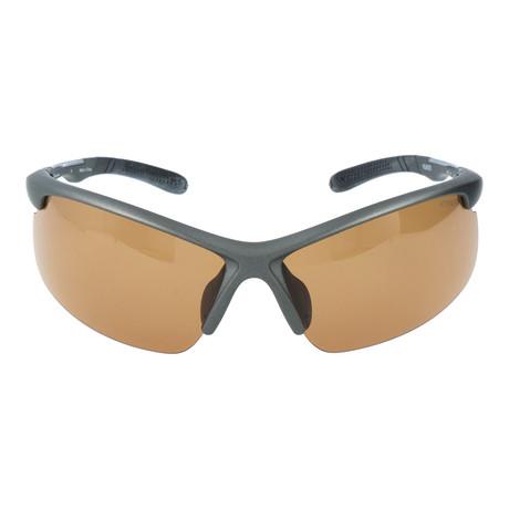 Half Frame Angled Sport Sunglasses // Gunmetal + Brown