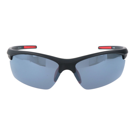 Half Frame Straight Rim Sport Sunglasses // Black