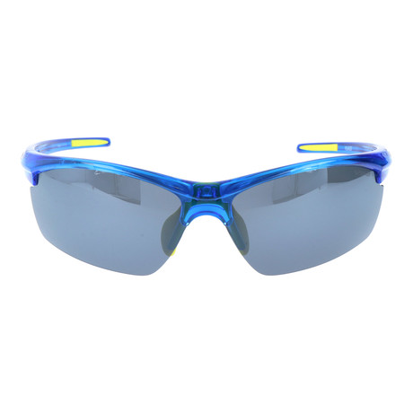 Half Frame Rectangle Sport Sunglasses // Clear Blue