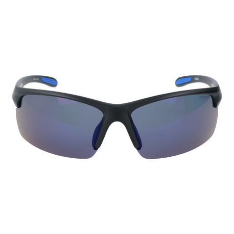 Half Frame Rectangle Sport Sunglasses // Black