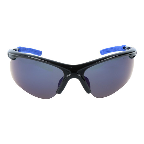 Half Frame Sport Sunglasses // Black + Blue