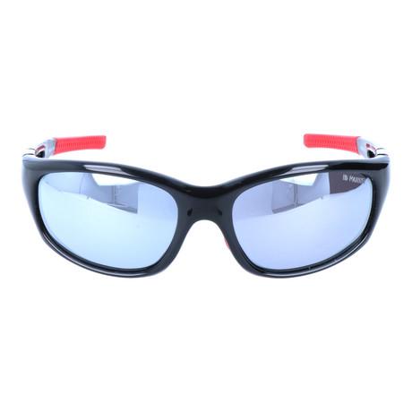 Angled Square Sport Sunglasses // Black + Mirror