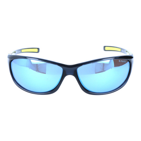 Smooth Rectangular Sport Sunglasses // Black + Blue Mirror