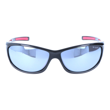 Smooth Rectangular Sport Sunglasses // Black + Mirror