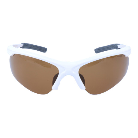 Half Frame Sport Sunglasses // White + Grey + Brown