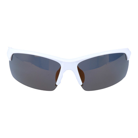 Half Frame Rectangle Sport Sunglasses // White + Orange