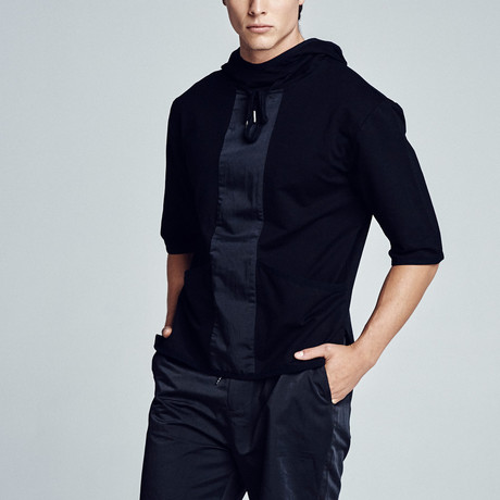 Kyan Panel Hooded Sweatshirt // Black