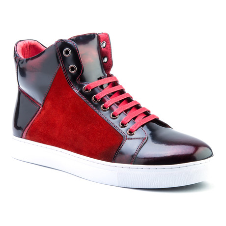 Douglas Patent High-Top Sneaker // Red