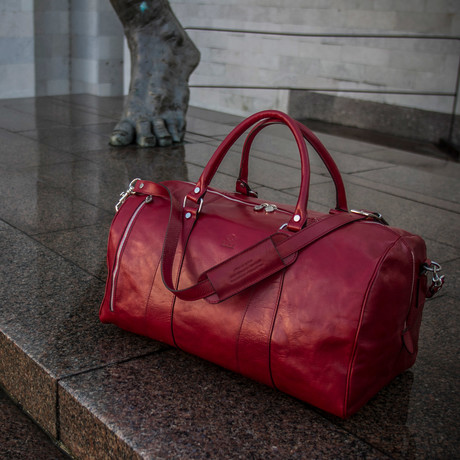 Wise Children Leather Duffel Bag // Red