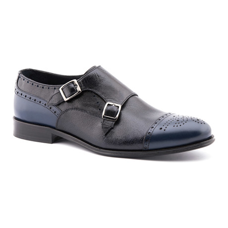 Classic Textured Monk Strap // Navy