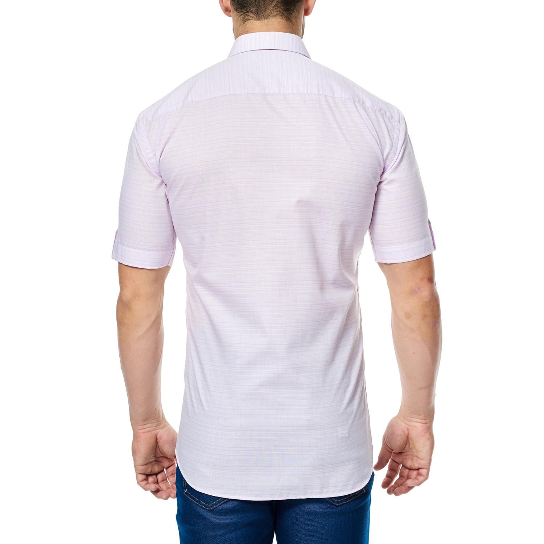 Microstripe Short Sleeve Button Up Shirt Pink 2xl