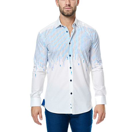 Painter Long-Sleeve Button-Up // White + Blue (S)