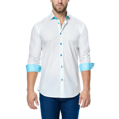 Ant Long-Sleeve Button-Up // White + Teal
