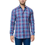 Gingham Long-Sleeve Button-Up // Blue + Red (XS)