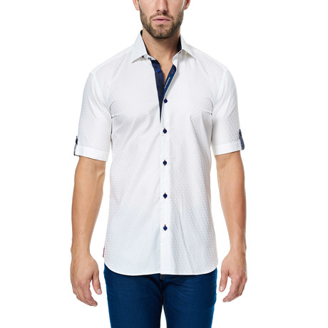 Maceoo // Textured Short-Sleeve Button-Up Shirt // White (S)