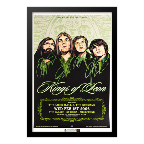 Framed Autographed Poster Kings Of Leon