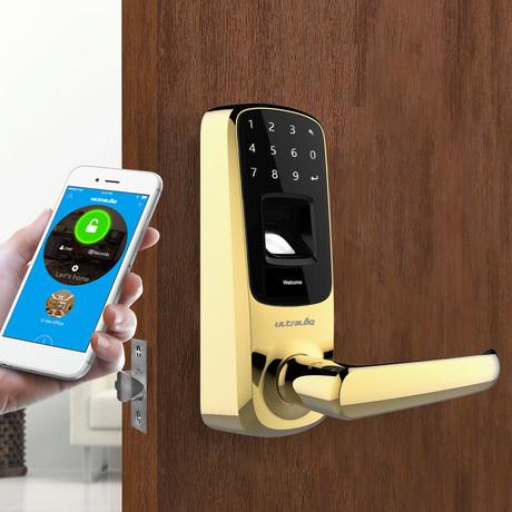 Ultraloq UL3 BT Bluetooth Enabled Fingerprint + Touchscreen Smart Lever Lock // Gold