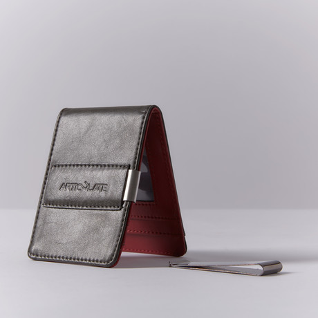 Slim Money Clip // Charcoal + Red