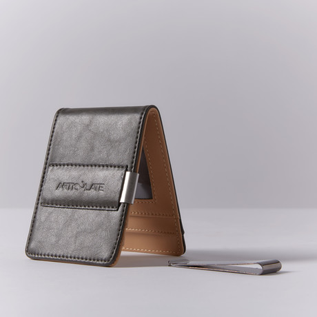Slim Money Clip // Charcoal + Beige