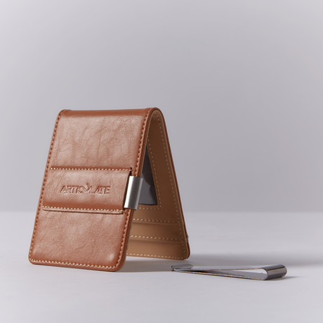 Slim Money Clip // Brown + Beige