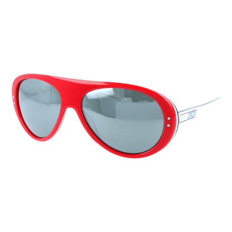 Men's Thick Bridge Rounded Sunglasses // Red + Mirror