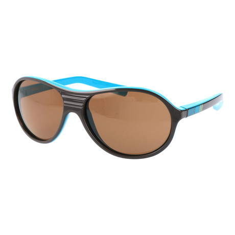 Men's Rounded Thick Rim Aviator Sunglasses // Black + Brown + Blue