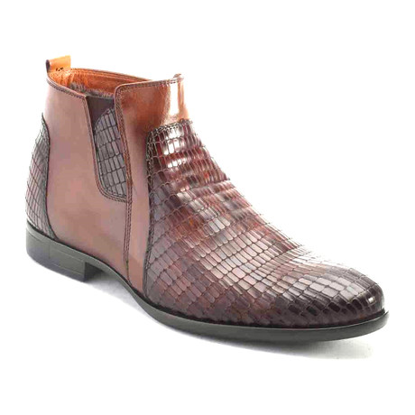 Snake Ankle Boot // Tobacco