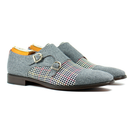 Double Monk Strap Shoe // Grey