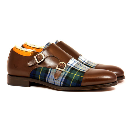 Double Monk Strap Shoe // Brown + Tartan