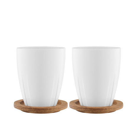 Bruk Porcelain Mug + Oak Lid // Set of 2